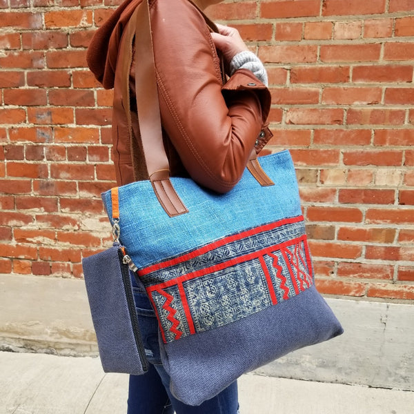 Mai Tote in Recycled Canvas with Vintage Hmong