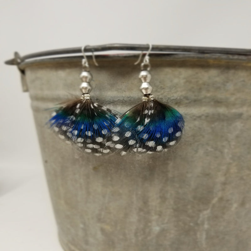 Peacock Blue Feathered Earrings
