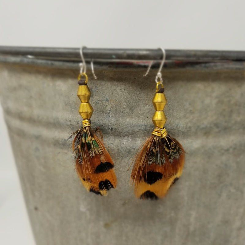 Rosy Finch Feathered Earrings