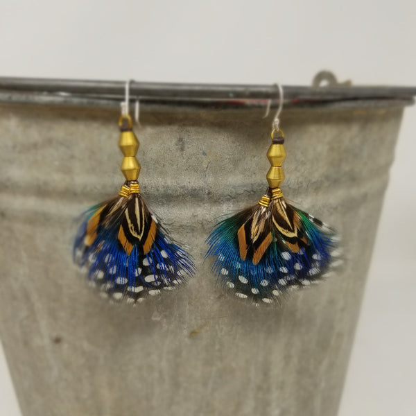 Blue Mustard Feathered Earrings