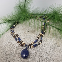 Lapis & Bone Necklace