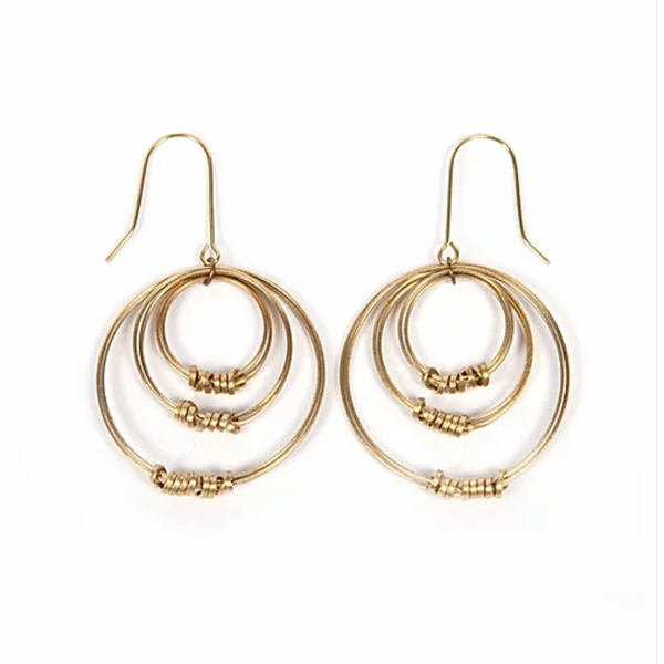 Brass Ribbon Triple Hoop Earrings