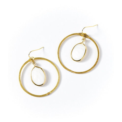 Dhavala Earrings - Pearl Hoop