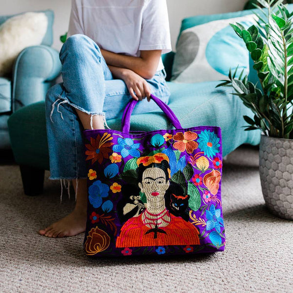 Frida Kahlo Embroidered Tote