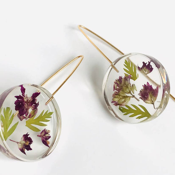 Botanical February Purple Primrose Full Moon Earrings