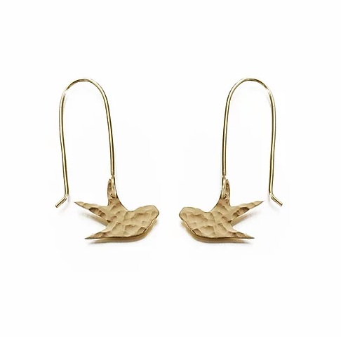 Hammered Brass Swallow Earrings