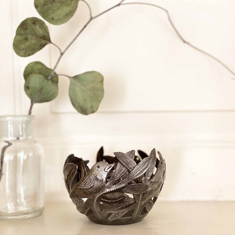 Bird Bowl Haitian Metal Tabletop Decor
