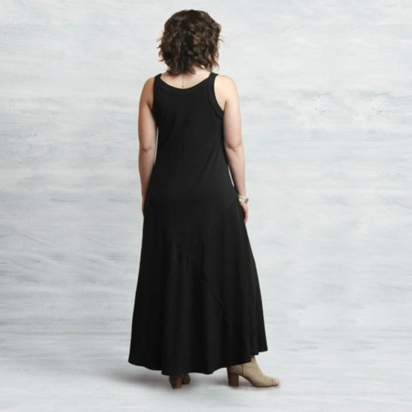 Black Organic Cotton Two-Way Maxi Dress