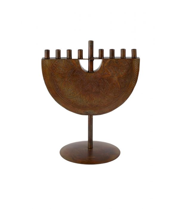 Engraved Iron Menorah