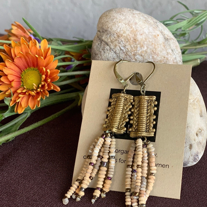 Clay & Brass Tassel Earrings