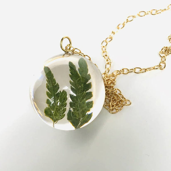 Botanical Sphere Fern Pendant Necklace