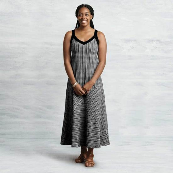 Black/White Organic Cotton Two-Way Maxi Dress