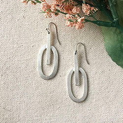Elliptical Moon Drop Earrings - Silver