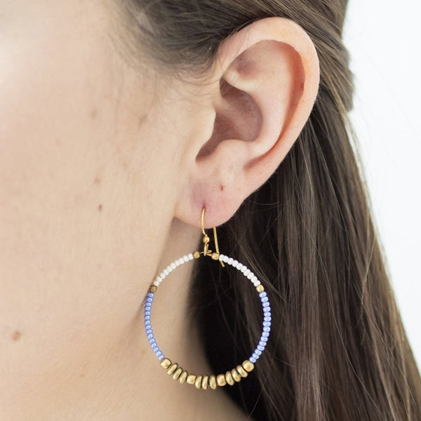 Colorblocked Brass Hoops