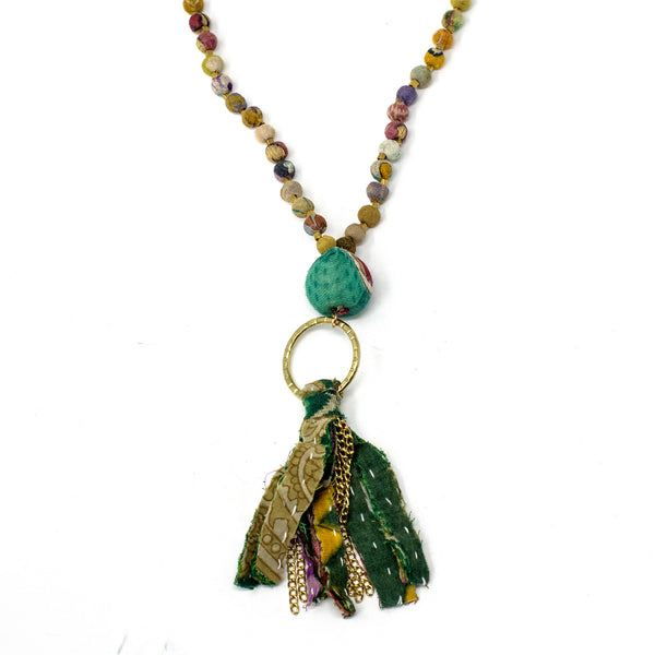 Kantha Tassel Necklace