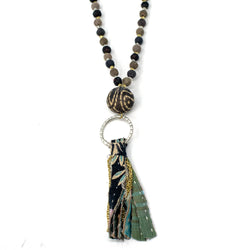 Kantha Noir Tassel Necklace