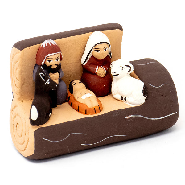 Ceramic Log Nativity