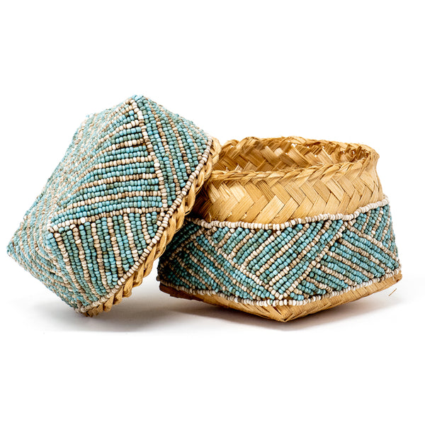 Beaded Bamboo Box Turquoise
