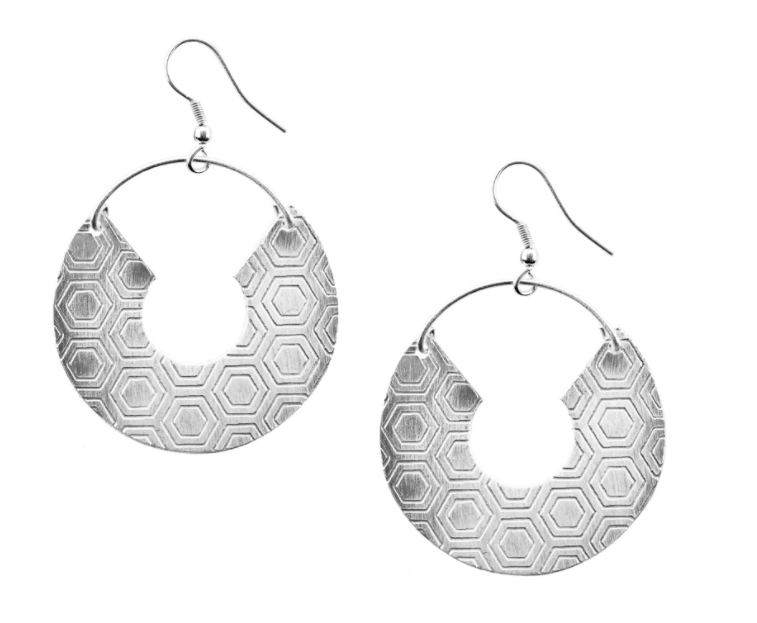 Jaladhi Earrings - Silver Honeycomb
