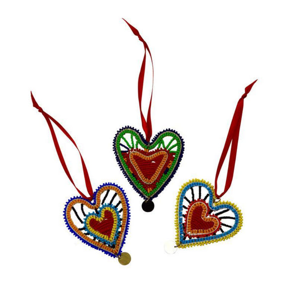 Kenyan Beaded Heart Ornament