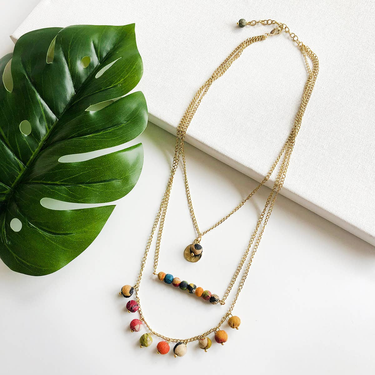 Kantha Triple Layered Necklace