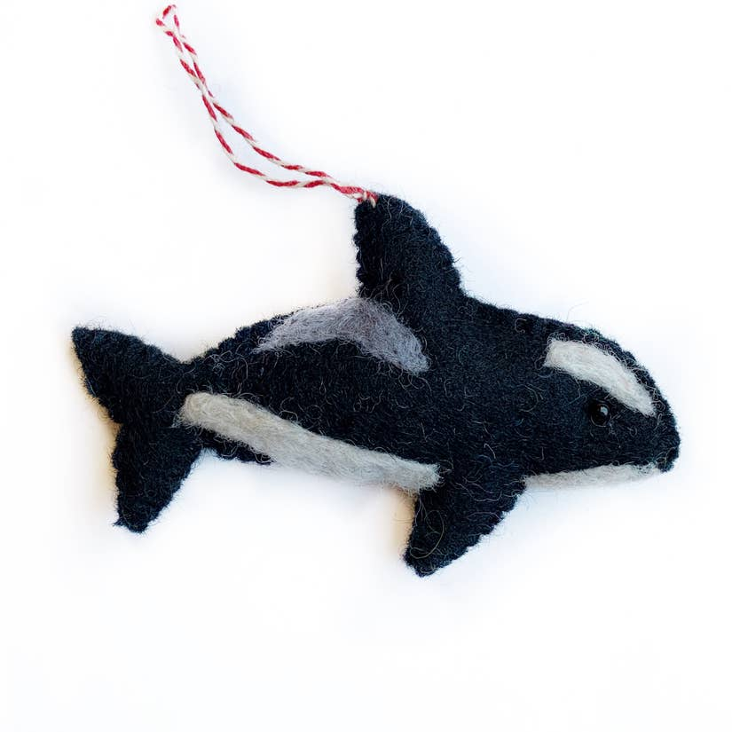 Orca Felt Wool Ornament
