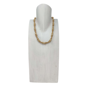 Tan Wood & Bone Necklace