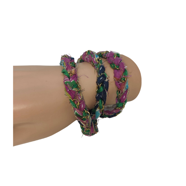 Kantha Braided Chain Wrap Bracelet