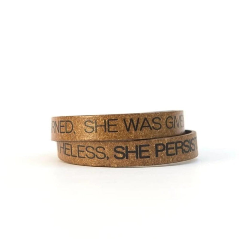 Recycled Leather Quote Bracelet