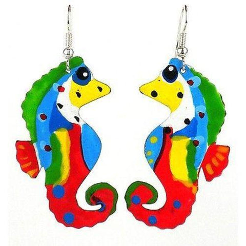 Painted Seahorse Earrings