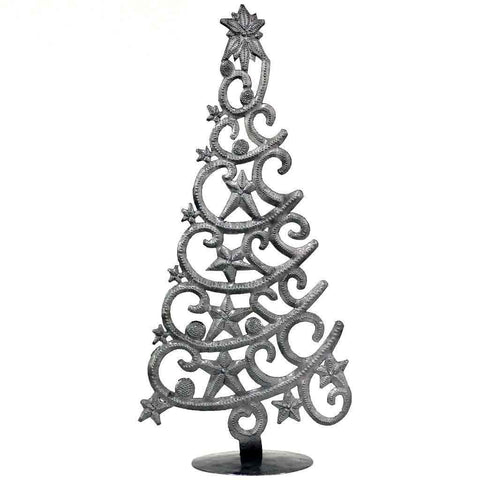 Christmas Tree with Stars Haitian Metal Tabletop Decor