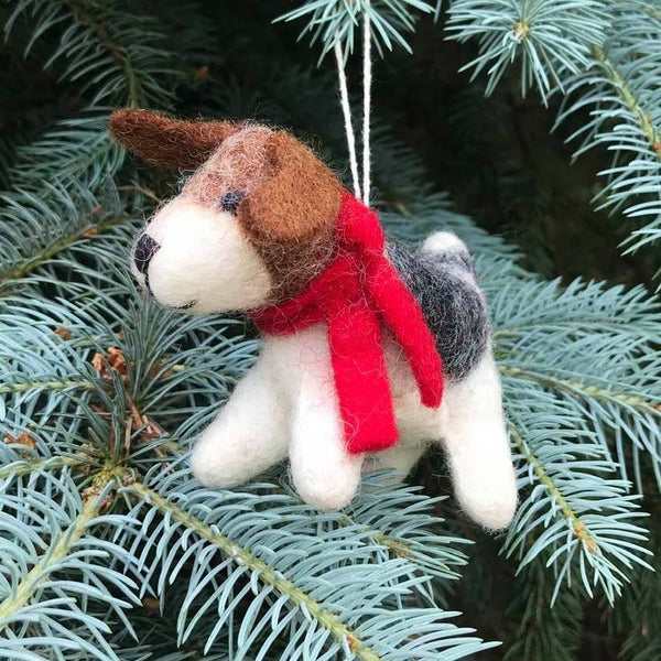 Dog with Red Scarf Ornament