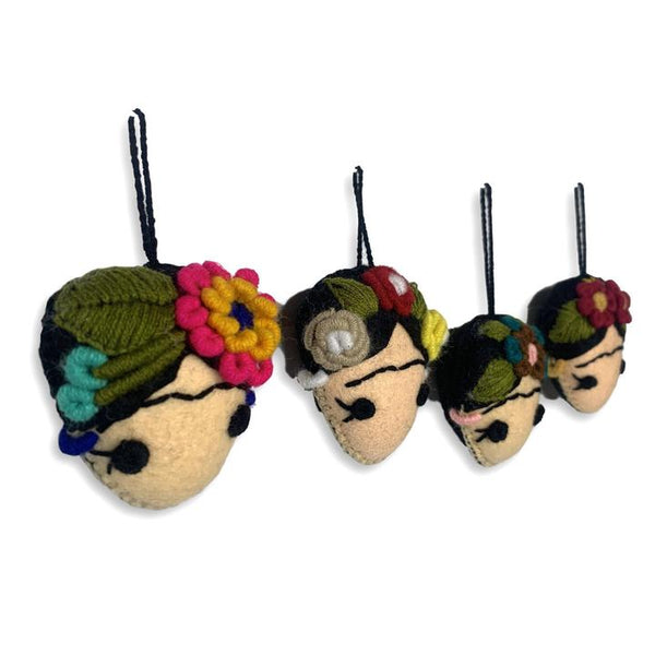 Frida Kahlo Felted Embroidered Ornament