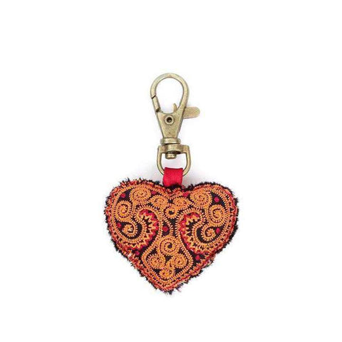Heart Embroidered Zipper Pull