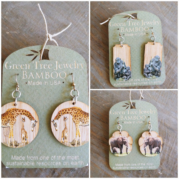 Bamboo Animal Earrings