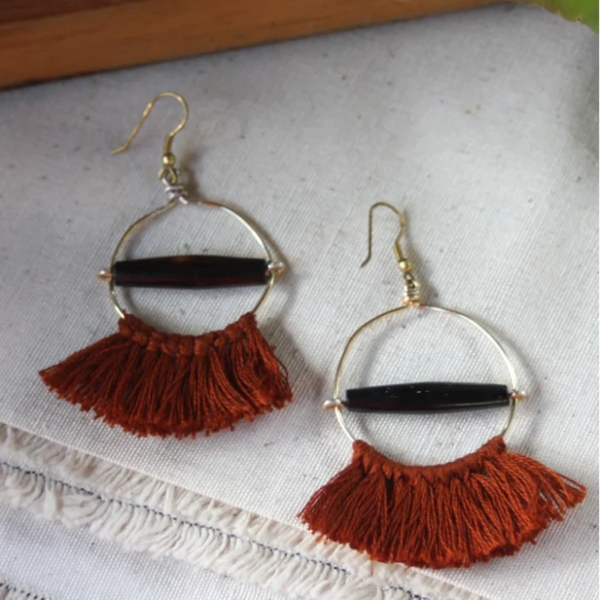 Rust Fringed Hoop Earrings