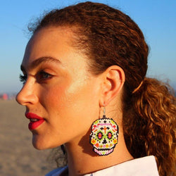 Sugar Skull Seed Bead Earrings