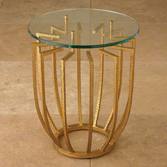Spoke Table-Hammered Gold Accent Table