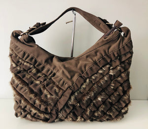 Nylon with faux fur trim satchel Chanel inspired - 5761