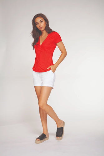 red wrap cap sleeved t shirt