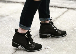 lace up low heel fashion bootie - Dock