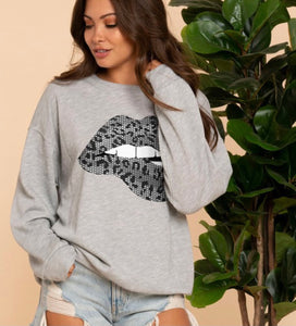 Pearl grey animal print lips sweatshirt in French Terry  BC89