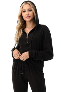 Black Lounge set zip top hoodie with joggers in French Terry  -AR1464/533