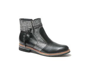 silver/blk fashion low heel boot - Gofran