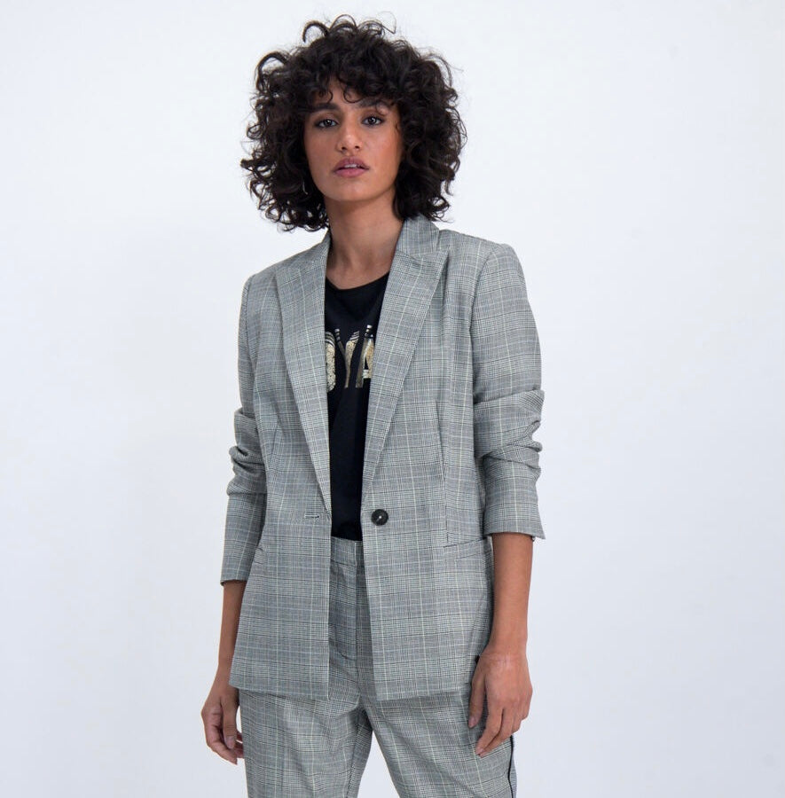 plaid blazer m00091