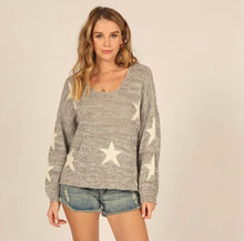 AOLE star print pocket front cozy sweater with full sleeves  -sweater-CC9024