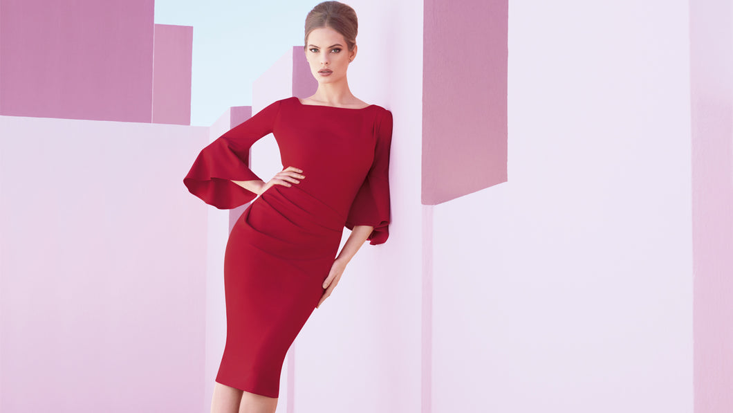red dress w/flare sleeve 173411
