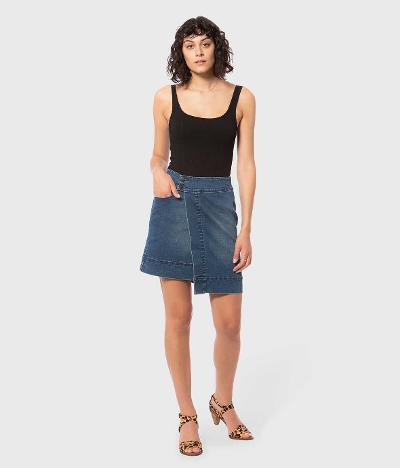 assymetrical wrap denim skirt