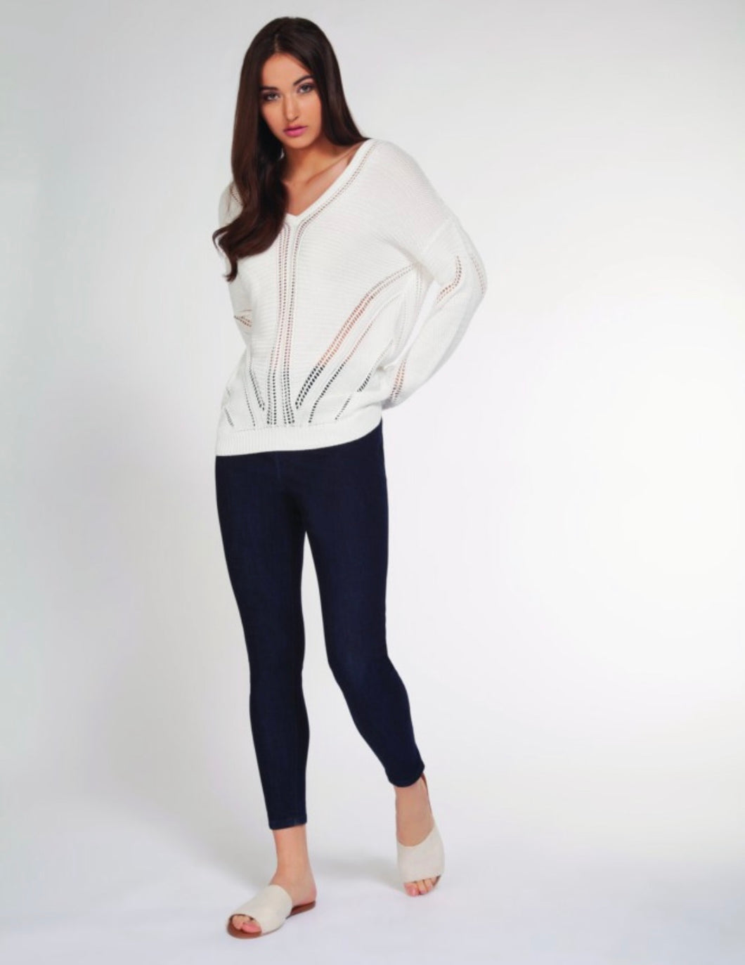 pointelle v neck sweater
