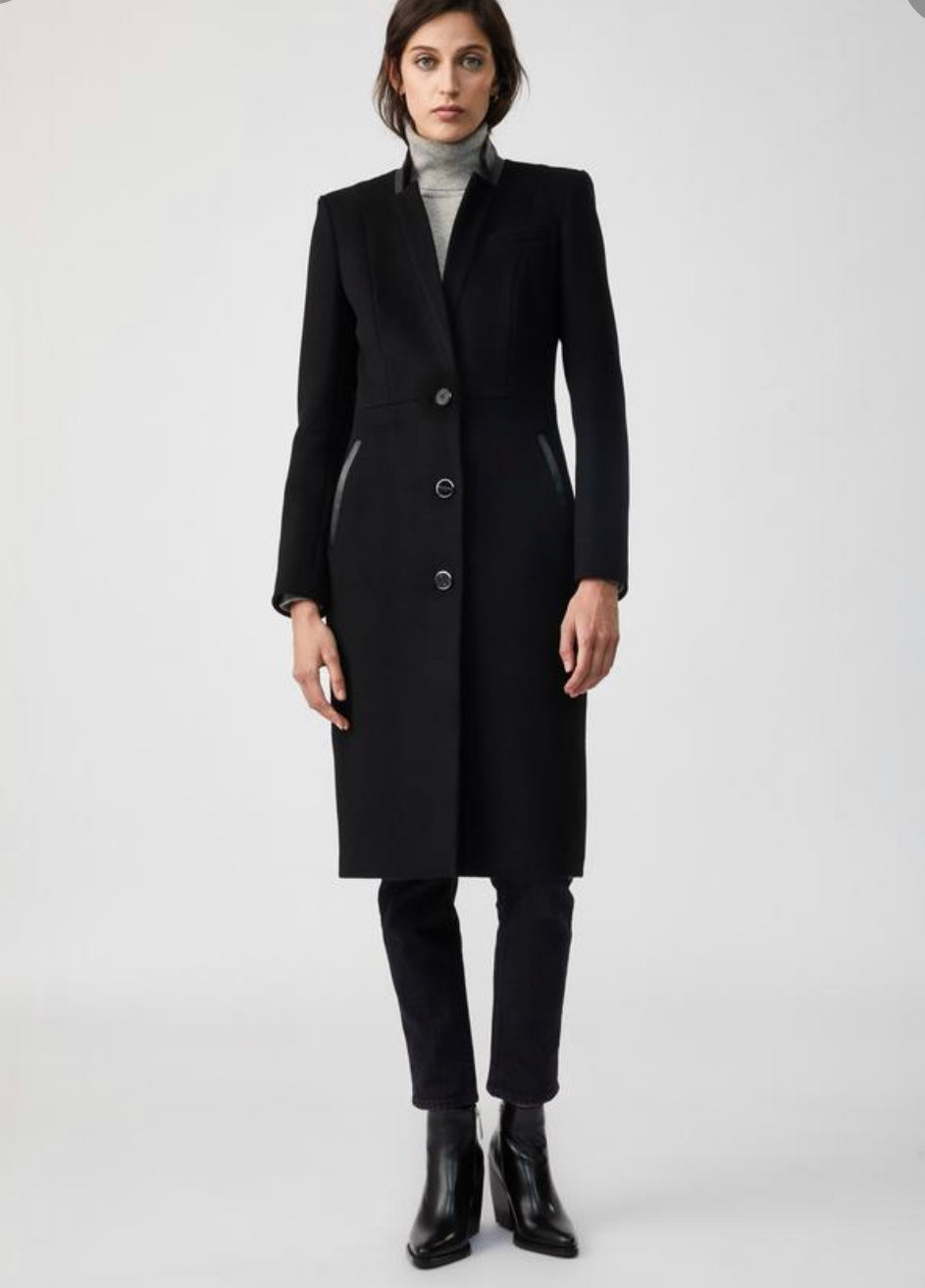 leather trim wool 3/4 al fit coat - Bianca